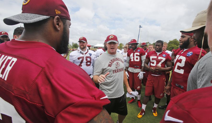 Washington Redskins head coach Jay Gruden talks to his team after the morning practice at the Redskins NFL football teams training camp in Richmond, Va., Friday, July 29, 2016. (AP Photo/Steve Helber)