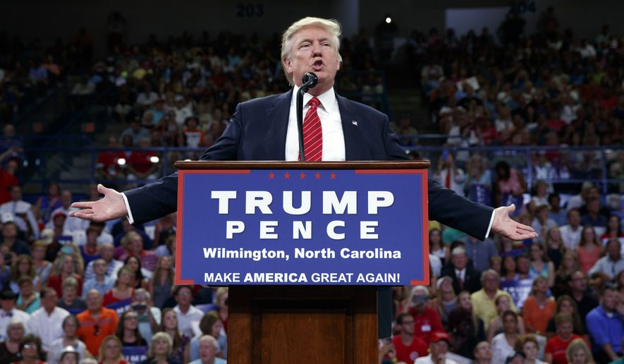 Republican presidential candidate Donald Trump speaks during a campaign rally at the University of North Carolina Wilmington, Tuesday, Aug. 9, 2016, in Wilmington, N.C. (AP Photo/Evan Vucci)
