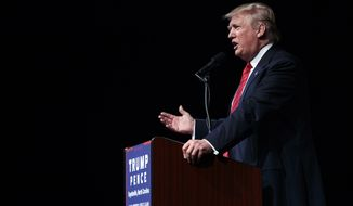 Republican presidential candidate Donald Trump speaks during a campaign rally at Crown Arena, Tuesday, Aug. 9, 2016, in Fayetteville, N.C. (AP Photo/Evan Vucci)