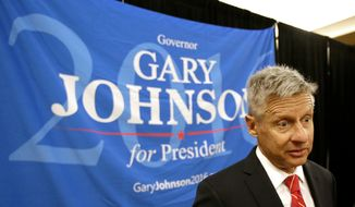 In this May 27, 2016, file photo, Libertarian presidential candidate Gary Johnson speaks to supporters and delegates at the National Libertarian Party Convention in Orlando, Fla. (AP Photo/John Raoux, File)
