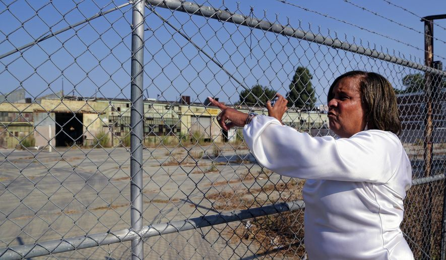 In this Friday, July 29, 2016, file photo, Charisse Bremond, president of South Los Angeles community program Brotherhood Crusade, a community service and development organization, points to a derelict factory where the Slauson-Wall Park was to be built in Los Angeles. (AP Photo/Nick Ut)
