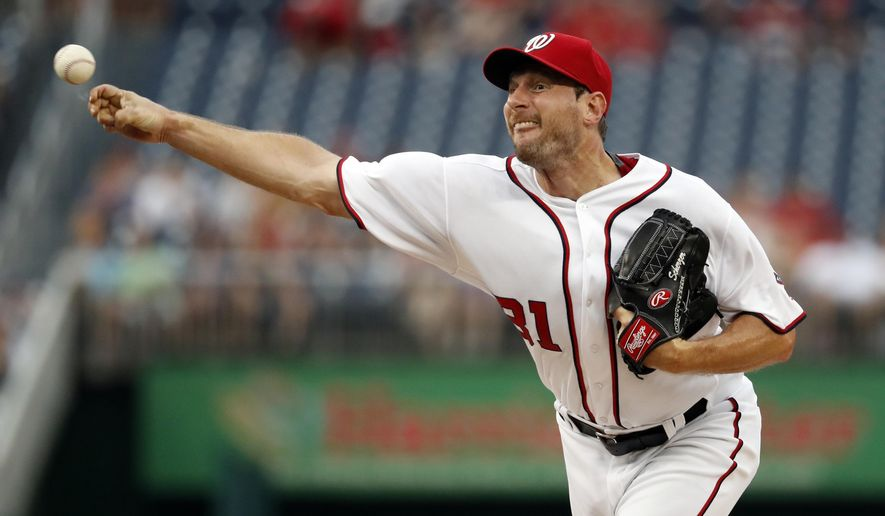 Washington Nationals starting pitcher Max Scherzer throws during the first inning of a baseball game against the Cleveland Indians at Nationals Park, Tuesday, Aug. 9, 2016, in Washington. (AP Photo/Alex Brandon)