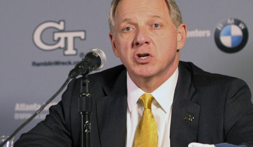 FILE - In this April 8, 2016, file photo, Georgia Tech Director of Athletics Mike Bobinski speaks during a press conference in Atlanta. Georgia Tech athletic director Mike Bobinski has accepted the same position at Purdue. Bobinski's decision was announced Tuesday by Georgia Tech President Bud Peterson, who said Bobinski will begin his work at Purdue this month.(Taylor Carpenter/Atlanta Journal-Constitution via AP, File)
