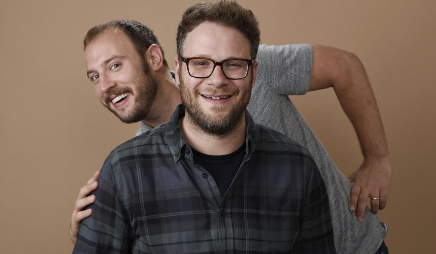 "In this Aug. 2, 2016 photo, Evan Goldberg, left, and Seth Rogen, co-writers and co-producers of ""Sausage Party,"" pose together for a portrait in Beverly Hills, Calif. The film will be released nationwide on Aug. 12. (Photo by Chris Pizzello/Invision/AP)"