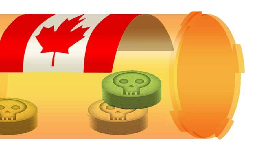 Illustration on the questionable safety of imported Canadian drugs by Alexander Hunter/The Washington Times