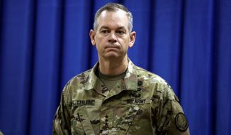 """Lt. Gen. Sean MacFarland said """"questions [about Islamic State strategy] have been answered, not by words, but by deeds  and our approach is paying off."""""""