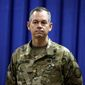 Lt. Gen. Sean MacFarland, the new commander general of the U.S.-led coalition in Iraq, attends a news conference at the U.S. Embassy in the heavily fortified Green Zone in Baghdad, Iraq, Thursday, Oct. 1, 2015. (AP Photo/Khalid Mohammed, Pool) ** FILE **