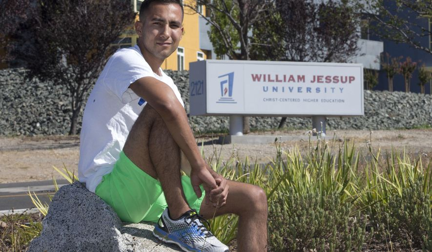 ADDS BACKGROUND INFO ON VILLARREAL - FILE - In this file photo taken July 21, 2016, Anthony Villarreal poses outside of William Jessup University in Rocklin, Calif. Villarreal, 25, a former track and cross country athlete at William Jessup, is among those who say they would have benefited if the law were in place. He says the university dismissed him in 2013 after learning that he lived with his boyfriend.Democratic California lawmaker Sen. Ricardo Lara, of Bell Gardens, Calif., is removing a contentious provision of his bill that would have allowed LGBT students to more easily sue religious schools for discrimination, Wednesday, Aug. 10, 2016. (AP Photo/Rich Pedroncelli, File)