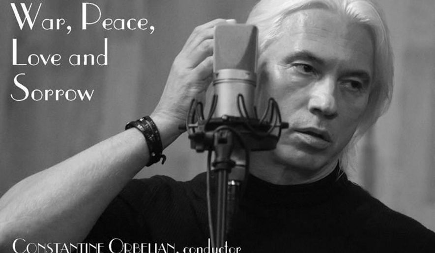 "This CD cover image released by Delos shows, ""Dmitri Hvorostovsky sings of War, Peace, Love and Sorrow."" (Delos via AP)"