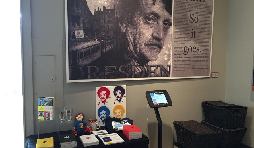 This April 21, 2016 photo shows an exhibit at the Kurt Vonnegut Museum and Library in Indianapolis. The writer was born and raised in Indianapolis and a number of events being held there this fall will celebrate his work and legacy. (AP Photo/Beth J. Harpaz)