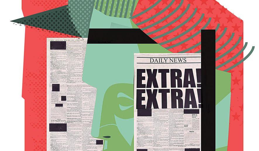 Illustration on biased journalism's impact on liberty by Linas Garys/the Washington Times