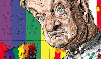 Illustration of George Soros by Alexander Hunter/The Washington Times