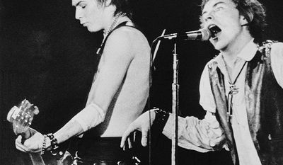 Sid Vicious (10 May 1957  2 February 1979), left, was an English musician, most famous as the bass guitarist of the influential punk rock band theSex Pistols, and notorious for his arrest for the alleged murder of his girlfriend, Nancy Spungen. Vicious joined the Sex Pistols in early 1977 to replace Glen Matlock, who had fallen out of favor with the rest of the group. Due to intravenous drug use, Vicious was hospitalized with hepatitis during the recording of the band's only studio album Never Mind the Bollocks. Accordingly, his bass is only partially featured on one song from the album. Vicious would later appear as a lead vocalist, performing three cover songs, on the soundtrack to The Great Rock 'n' Roll Swindle, a largely fictionalized documentary about the Sex Pistols, produced by the group's former manager Malcolm McLaren and directed by Julien Temple. During the Sex Pistols' brief, chaotic ascendancy, Vicious met eventual girlfriend and manager Nancy Spungen, and the pair entered a destructive codependent relationship based on drug use. This culminated in Spungen's death from an apparent stab wound while staying in New York City's Hotel Chelsea with Vicious. Under suspicion of having committed Spungen's murder, Vicious was released on bail; he was later arrested again for assaulting Todd Smith, brother of Patti Smith, at a night club, and underwent drug rehabilitation on Rikers Island. In celebration of Vicious' release from prison, his mother hosted a party for him at his girlfriend's residence in Greenwich Village, which was attended notably by the Misfits bassist Jerry Only. Vicious' mother had been supplying him with drugs and paraphernalia since he was young; late that night she assisted him in procuring heroin, and he died in his sleep after overdosing on it. (AP Photo)