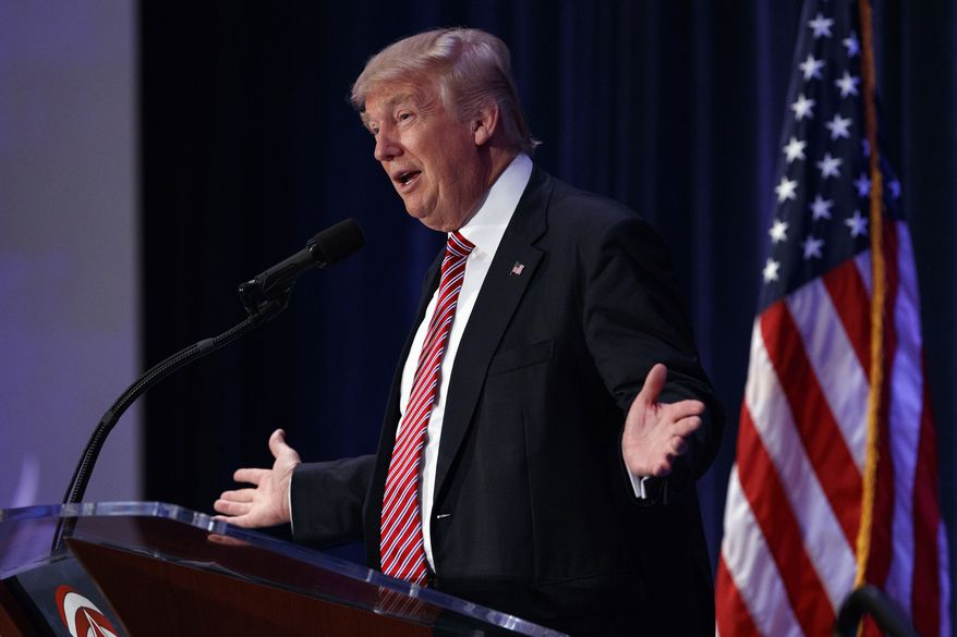 Republican presidential candidate Donald Trump speaks a group of pastors at the Orlando Convention Center, Thursday, Aug. 11, 2016, in Orlando, Fla. (AP Photo/Evan Vucci)