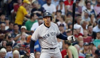 New York Yankees' Alex Rodriguez bats during the second inning of a baseball game against the Boston Red Sox in Boston, Thursday, Aug. 11, 2016. (AP Photo/Michael Dwyer)