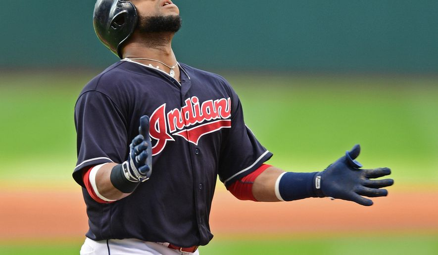 Cleveland Indians' Carlos Santana celebrates after hitting a solo home run off Los Angeles Angels starting pitcher Jhoulys Alvarez during the first inning of a baseball game Thursday, Aug. 11, 2016, in Cleveland. (AP Photo/David Dermer)