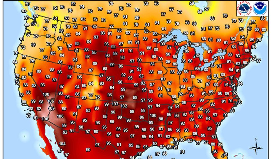 This image provided by the National Weather Service shows temperatures in the continental United States as of 3 p.m. on Friday, July 22, 2016. The weather service outlook for the following three months shows above normal temperatures across the country. (National Weather Service via AP)