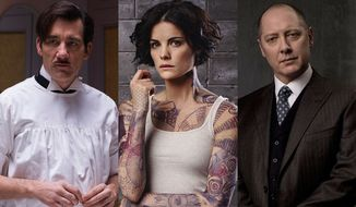 "Clive Owen as Dr. John Thackery in ""The Knick: The Complete Second Season,"" Jaimie Alexander as Jane Doe in ""Blindspot: The Complete First Season"" and James Spader as Raymond Reddington in ""Blacklist: The Complete Third Season,"" all available on Blu-ray."