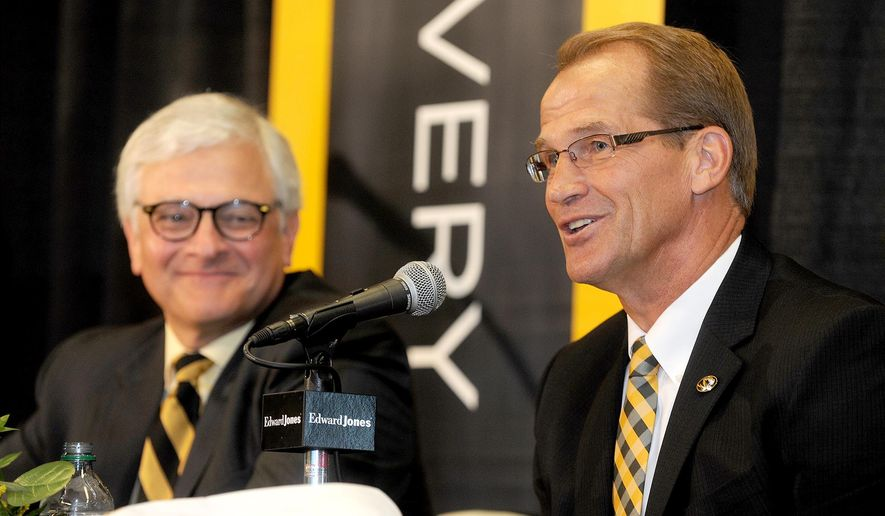 University of Missouri interim Chancellor Hank Foley, left, and newly-appointed University of Missouri Athletic Director Jim Sterk, take questions from the media during a press conference, Thursday Aug. 11, 2016 at the Columns Club in Memorial Stadium in Columbia, Mo. (Don Shrubshell/Columbia Daily Tribune via AP)