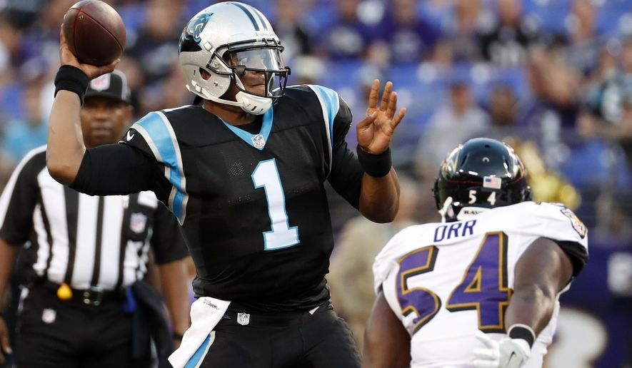 Carolina Panthers quarterback Cam Newton (1) throws under pressure from Baltimore Ravens linebacker Zach Orr (54) during the first half of an NFL preseason football game Thursday, Aug. 11, 2016, in Baltimore. (AP Photo/Alex Brandon)