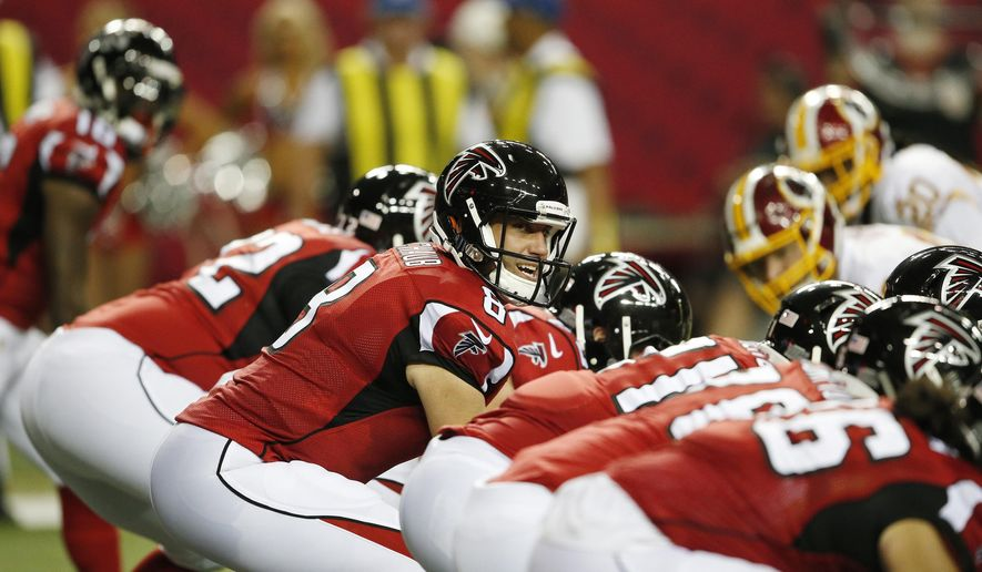 Atlanta Falcons quarterback Matt Schaub (8) calls a play at the line of scrimmage against the Washington Redskins during the first half of a preseason NFL football game, Thursday, Aug. 11, 2016, in Atlanta. (AP Photo/John Bazemore)