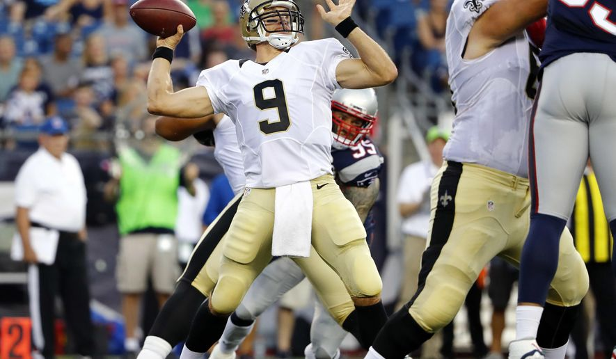 New Orleans Saints quarterback Drew Brees (9) passes against the New England Patriots during the first half of an NFL football preseason game Thursday, Aug. 11, 2016, in Foxborough, Mass. (AP Photo/Winslow Townson)