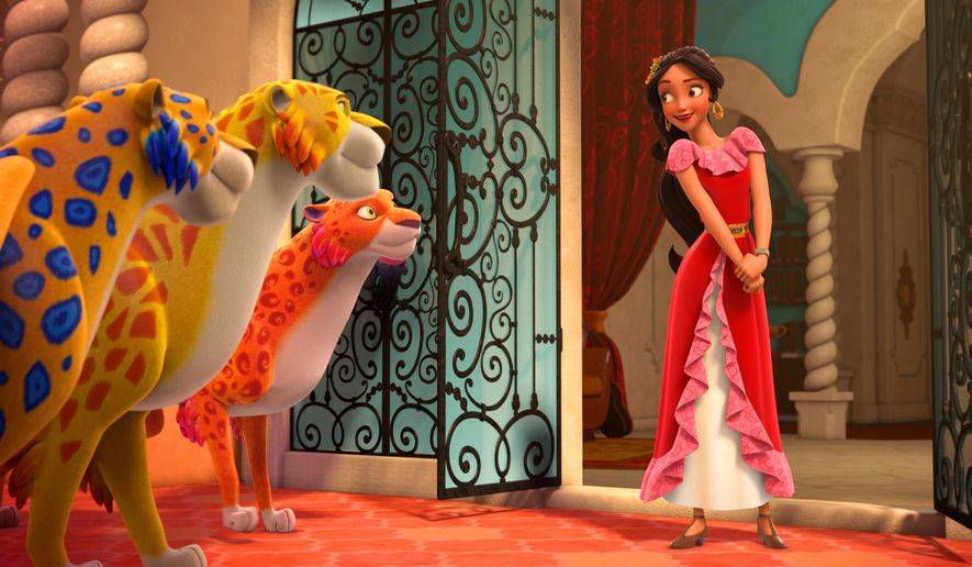 "In this image released by the Disney Channel, the character Princess Elena, right, appears in a scene from ""Elena Of Avalor.""  The series, that airs on Disney Channel and Disney Junior, was renewed for a second season, Thursday, Aug. 11, 2016.  (Disney Channel via AP)"