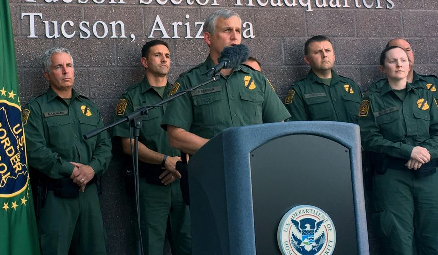 U.S. Border Patrol, Tucson Sector Chief Paul Beeson speaks about the death of veteran U.S. Border Patrol agent Manuel Alvarez in Tucson, Ariz., Friday, Aug. 12, 2016. Alvarez was on patrol in a remote area in southern Arizona on Thursday when he crashed riding motorcycles with a fellow agent. (AP Photo/Astrid Galvan)