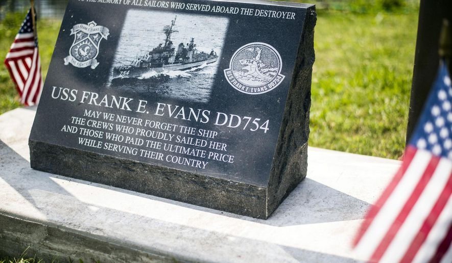A memorial for the destroyer U.S.S Frank E. Evans, DD-754, which lost 73 sailors when it was cut in half in a collision with an aircraft carrier during the Vietnam War, has been established near the U.S.S. Edson in Bangor Township on Aug. 10, 2016. (Jacob Hamilton/The Bay City Times via AP)