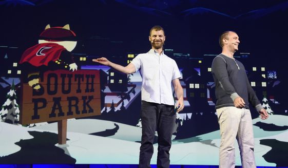 """South Park"" creators Matt Stone, left, and Trey Parker discuss the ""South Park: The Fractured But Whole"" video game onstage at Ubisoft's E3 2015 Conference at the Orpheum Theatre in Los Angeles, June 15, 2015. (Photo by Chris Pizzello/Invision/AP) ** FILE **"