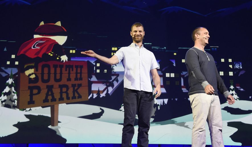 """""""South Park"""" creators Matt Stone, left, and Trey Parker discuss the """"South Park: The Fractured But Whole"""" video game onstage at Ubisoft's E3 2015 Conference at the Orpheum Theatre in Los Angeles, June 15, 2015. (Photo by Chris Pizzello/Invision/AP) ** FILE **"""
