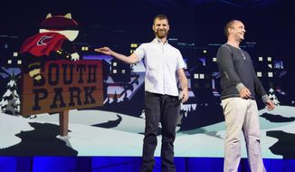 "In this June 15, 2015, file photo, ""South Park"" creators Matt Stone, left, and Trey Parker discuss the ""South Park: The Fractured But Whole"" video game onstage at Ubisoft's E3 2015 Conference at the Orpheum Theatre in Los Angeles. Ubisoft unveiled plans Friday, Aug. 12, 2016, for a VR mask that will pump fart smells into gamers' nostrils as they play ""South Park: The Fractured But Whole."" (Photo by Chris Pizzello/Invision/AP, File)"