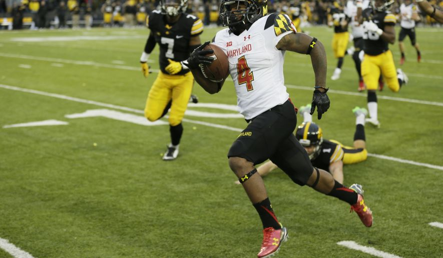 FILE - In this Oct. 31, 2015, file photo, Maryland's William Likely (4) returns a kickoff 100-yards for a touchdown during the second half of an NCAA college football game against Iowa, in Iowa City, Iowa.  (AP Photo/Charlie Neibergall)