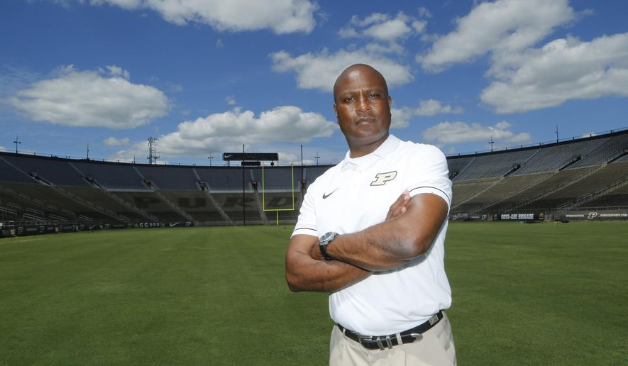 Purdue head coach Darrell Hazell poses during NCAA college football media day Sunday, Aug. 7, 2016, at Ross-Ade Stadium in West Lafayette, Ind. (John Terhune/Journal & Courier via AP)