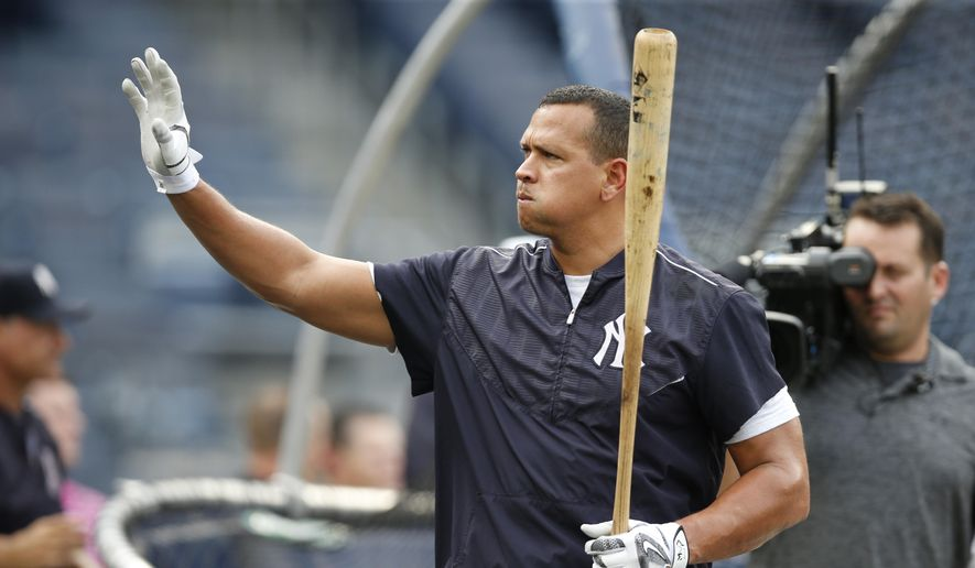 New York Yankees designated hitter Alex Rodriguez waves to fans in the stands during batting practice before his final game as a player at Yankee Stadium in New York, Friday, Aug. 12, 2016. The Yankees host the Tampa Bay Rays. (AP Photo/Kathy Willens) **FILE**