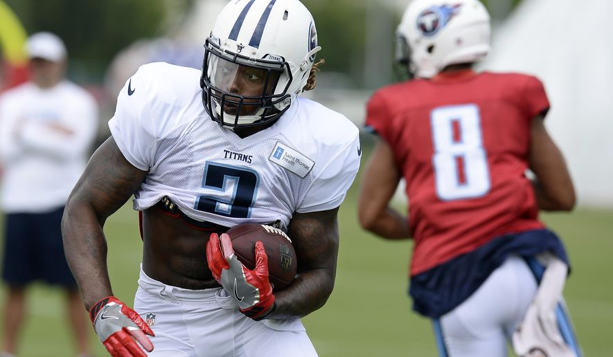 FILE - In this Thursday, Aug. 4, 2016, file photo, Tennessee Titans running back Derrick Henry (2) runs the ball during NFL football training camp in Nashville, Tenn. The Titans rookie has worked in training camp on demonstrating he's a complete back who offers more than just the running skills that won him the Heisman Trophy at Alabama last season. (AP Photo/Mark Zaleski, File)