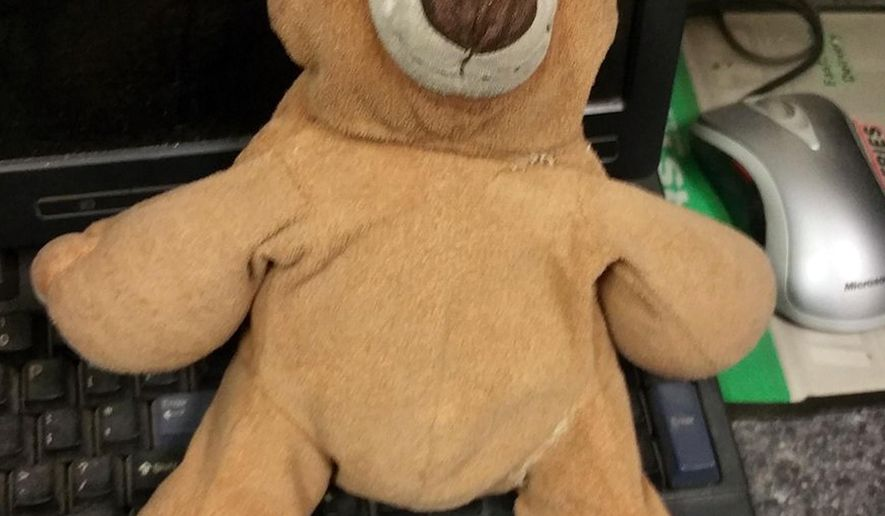 In this Aug. 8, 2016 photo by the New Jersey Turnpike Authority, the lost teddy bear of 12-year-old Alex Hernandez, of New City, NY, is shown. The New Jersey Turnpike is reuniting a New York boy with the teddy bear that he lost at the Clara Barton Service Area, in Oldmans Township, NJ, on a road trip to North Carolina with his parents. (New Jersey Turnpike Authority via AP)