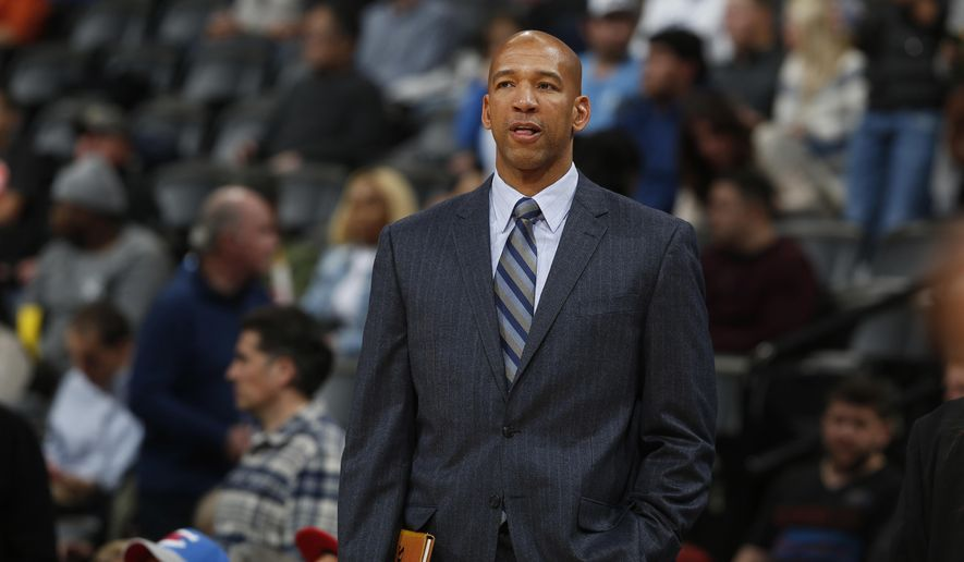 "FILE - In this Jan. 19, 2016 file photo, then-Oklahoma City Thunder assistant coach Monty Williams is seen in the second half of an NBA basketball game in Denver. Without his wife, it's a bittersweet Olympics for Williams. When Ingrid Williams died on Feb. 11 at age 44, it meant he would experience Rio alone. ""So a little bittersweet, but at the same time we've had to manage that and move forward,"" Williams, US assistant coach, said in an interview with The Associated Press. (AP Photo/David Zalubowski, File)"