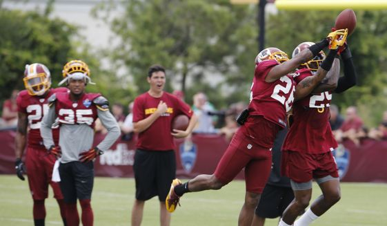 Washington Redskins cornerback Bashaud Breeland (26) and teammate, Duke Ihenacho, right, run a drill during the afternoon practice at the Washington Redskins NFL football teams training camp in Richmond, Va., Friday, Aug. 5, 2016. (AP Photo/Steve Helber) ** FILE **