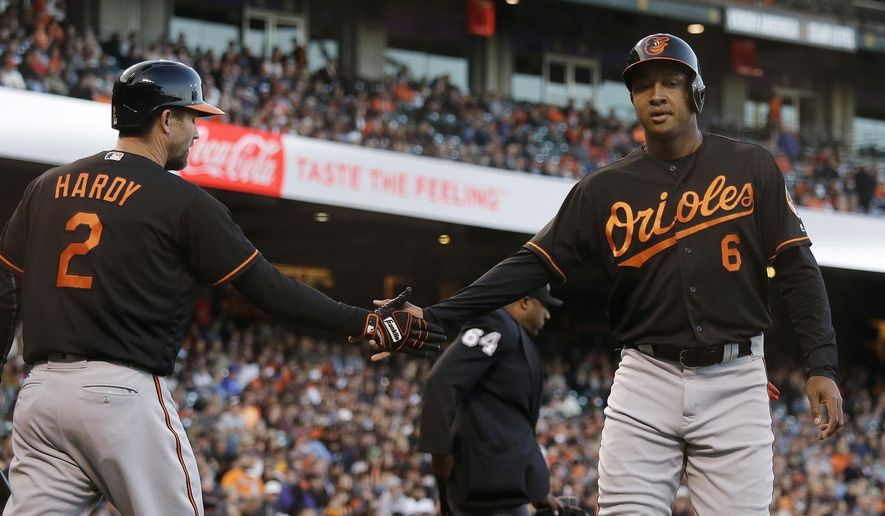 Baltimore Orioles' Jonathan Schoop, right, is greeted by teammate J.J. Hardy, left, after scoring the team's first run in the second inning of a baseball game against the San Francisco Giants, Friday, Aug. 12, 2016, in San Francisco. (AP Photo/Eric Risberg)