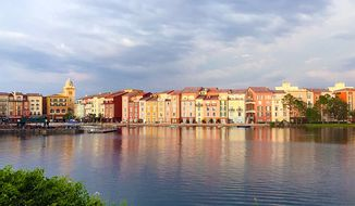 Portofino Bay reflects the evening sun. (Photograph by Jacquie Kubin /  Special to The Washington Times)
