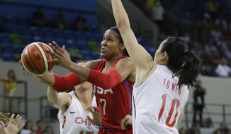 United States forward Maya Moore (7) makes a layup defended by China center Nan Chen (15) and forward Wen Lu during the first half of a women's basketball game at the Youth Center at the 2016 Summer Olympics in Rio de Janeiro, Brazil, Sunday, Aug. 14, 2016. (AP Photo/Carlos Osorio)