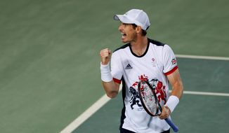 Andy Murray, of Great Britain, screams after winning the first set against Juan Martin del Potro of Argentina in the gold medal match of the men's singles tennis competition at the 2016 Summer Olympics in Rio de Janeiro, Brazil, Sunday, Aug. 14, 2016. (AP Photo/Vadim Ghirda)