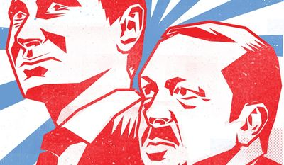 Illustration on the relationship of Putin and Erdogan by Linas Garsys/The Washington Times