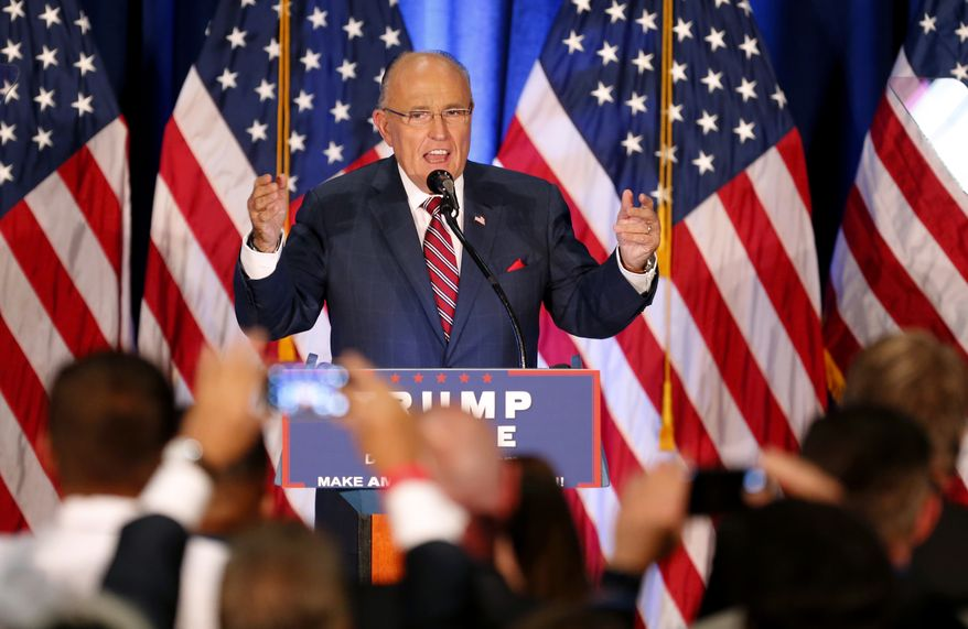 Former New York Mayor Rudy Giuliani speaks before Republican Presidential candidate Donald Trump in Youngstown, Ohio, Monday, Aug. 15, 2016. (AP Photo/Gerald Herbert)