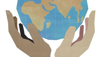 Illustration on the furtherance of human rights by Linas Garsys/The Washington Times