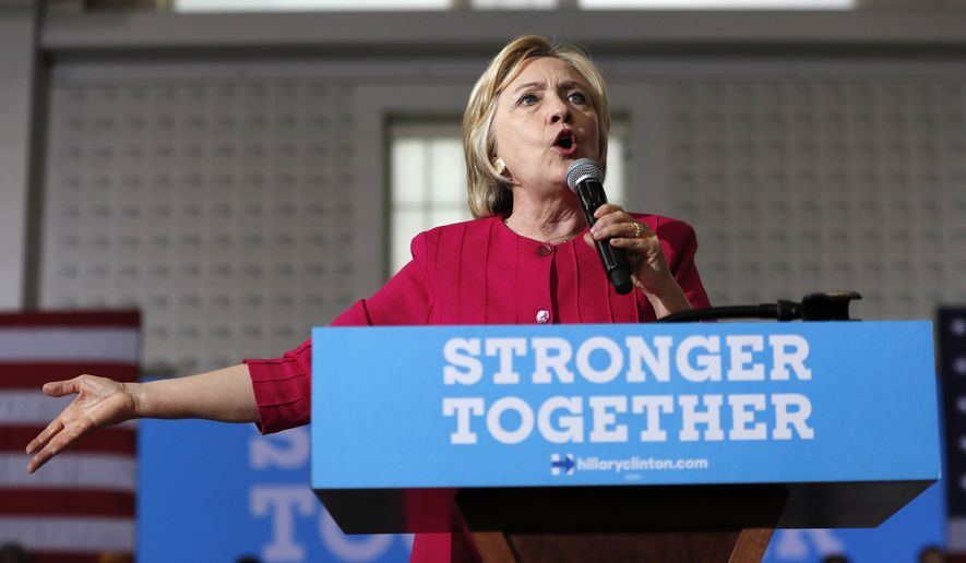 Democratic presidential candidate Hillary Clinton speaks at a Pennsylvania Democratic Party voter registration event at West Philadelphia High School in Philadelphia, Tuesday, Aug. 16, 2016. (AP Photo/Carolyn Kaster)