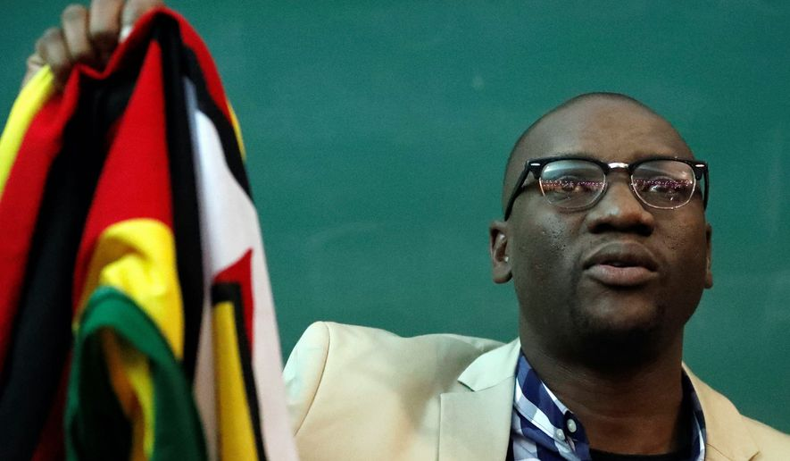 Pastor Evan Mawarire told the Atlantic Council on Wednesday that Zimbabweans have run out of patience with President Robert Mugabe. (Associated Press)
