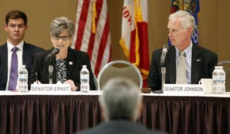 "U.S. Sen. Joni Ernst and U.S. Sen. Ron Johnson speak as the Senate Homeland Security and Governmental Affairs Committee held a field hearing titled, ""From Crop to Craft Beer: Federal Regulation's Impact on America's Food and Agriculture"" at the Grand River Center in Dubuque on Wednesday, Aug. 17, 2016. (Mike Burley/Telegraph Herald via AP)"