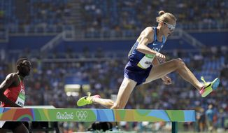 United States' Evan Jager competes in the men's 3000-meter steeplechase final during the athletics competitions of the 2016 Summer Olympics at the Olympic stadium in Rio de Janeiro, Brazil, Wednesday, Aug. 17, 2016. (AP Photo/David J. Phillip)
